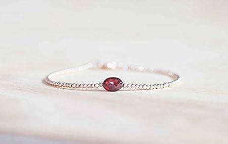 Pulsera de granate con relleno de oro rosa o plata de ley, pulsera de piedras preciosas rojas de 10 mm