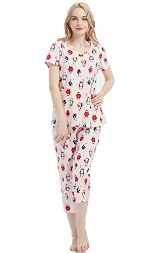 Amoy madrola Women's Cotton Sleepwear Tops with Capri Pants Pajama Sets SY215-Pink Penguin-XL ()
