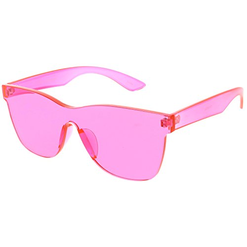 sunglassLA - Rimless Horn Rimmed Mono Block Sunglasses With Colorful One Piece PC Lens 68mm (Hot - Hot Glasses Frames