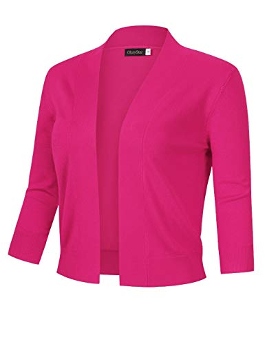 (GloryStar Women's 3/4 Sleeve Open Front Cropped Cardigan Sweater Lightweight Knit Short Shrugs (XXL, Rose Pink))