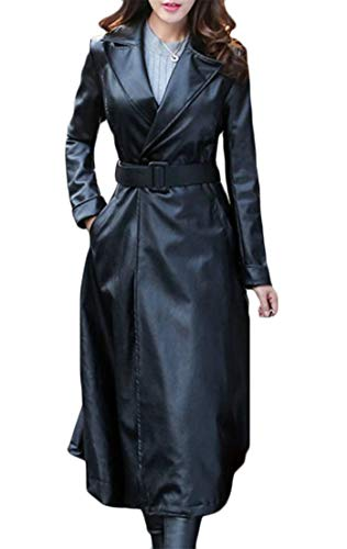 Lutratocro Women's Lapel Belted Faux Leather Outerwear Warm Autumn Winter Mid Long Swing Trench Coat Black L -