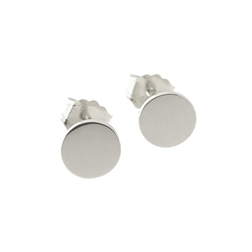 Automic Gold Solid 14k White Gold Circle Earrings, 5mm
