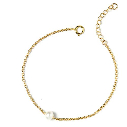 BENIQUE Bracelet for Women Girls - 14k Gold Filled, 925 Sterling Silver, Freshwater Cultured Pearl, Dainty Chain Jewelry for Layering Stacking, Made in USA, 6.5