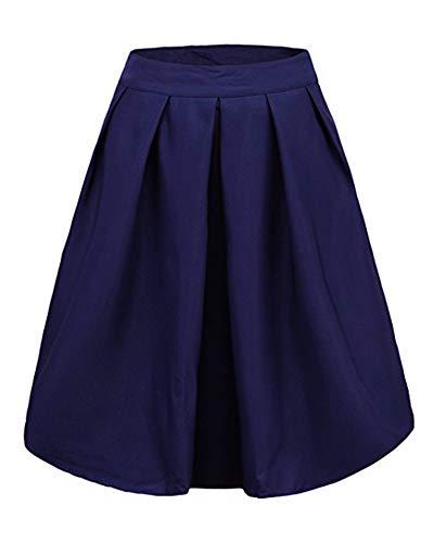 Jupe Femme avec Pliss Poches Elastique Haute Longue LaoZanA Marine Taille Unie Skirt pEqdx0z