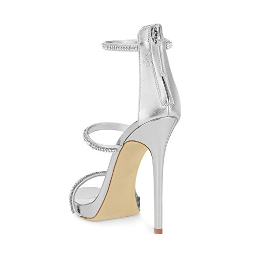 XYD Party Stilettos Pumps Sexy Strappy Open Toe Sandals Zipper High Heels Dress Shoes For Women Silver eastbay cheap price best place to buy huge surprise cheap price from china free shipping EGBQDEpP