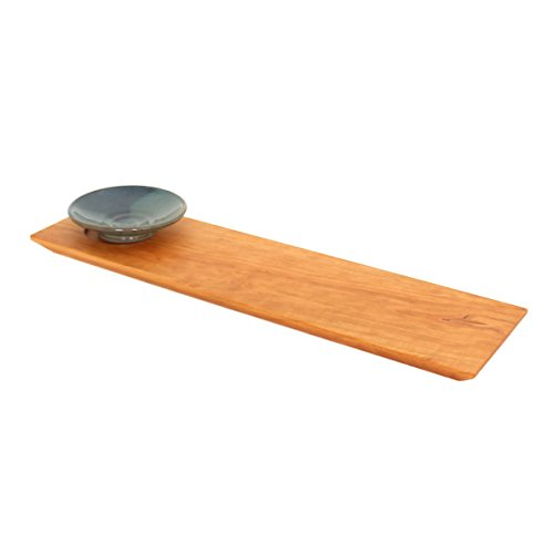 Cherry Wooden Bread Board with Dipping Bowl