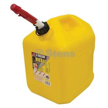 Stens 765-508 Yellow Plastic Diesel Can, Not compatible with greater than 10% ethanol fuel, Exceeds CARB and EPA Requirements, 5 gal, 13-1/4'' Depth x 10-1/4'' Width x 14-3/4'' Height by Stens