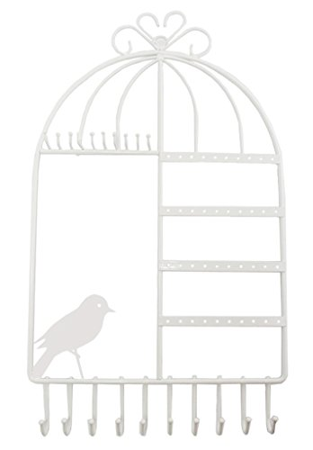 WELL-STRONG White Jewelry Organizer Wall Mount Earing Holder Necklace Hanger Birdcage Jewelry Display Stand for Girls - White Jewelry Organizer