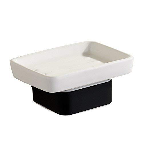 バスルームソープディッシュ亜鉛合金ブラックスクエアソープボックスバスルームトイレペンダントソープディッシュホルダー 浴室用アクセサリーJYT B07R6238QL