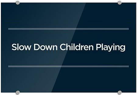 27x18 Slow Down Children Playing Basic Navy Premium Acrylic Sign CGSignLab