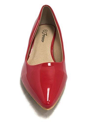 Coshare Women's Fashion Patent Aubree-16 Front Low Heel Pumps, Plain Red, 9 (Red Pumps Patent Low Heel)
