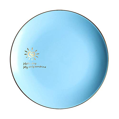 XQJDD Ceramic Matte Western Plate Fruit Plate Phnom Penh Plate Shallow Dish Nordic Creative Tableware Blue X 10 Inch ()