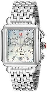 Michele Womens MWW06P000014 Deco Diamond Dial Stainless Steel ()