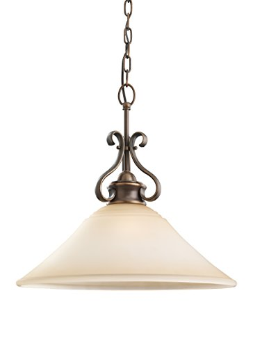 Sea Gull Lighting 65380-829 Single-Light Pendant, Ginger Glass Shade and Russet - Parkview Light 1 Pendant
