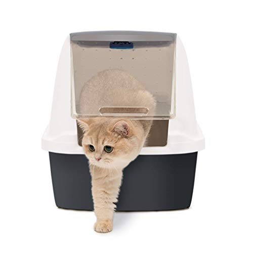 Pet Supplies Cat Litter Tray Toilet Semi-Automatic Design, Covered Litter Tray Spacious Interior Large Size, Dog Litter Boxes Hygienic Odour Free with Separating System
