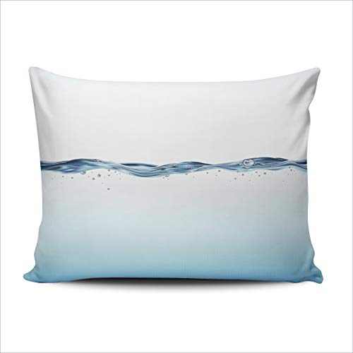 Hoooottle Custom Blue Water Wave Decorative Pillowcase Throw Pillow Case Cover Zippered Lumbar One Side Printed 12x20 Inches