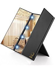 AlierKin 3-Fold Makeup Mirror with 8 LED Lights - Travel Compact Vanity -