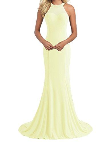 Light H Long Prom Beaded S Women's Halter Dress D Evening Yellow Gowns Mermaid 4WFwqZP4