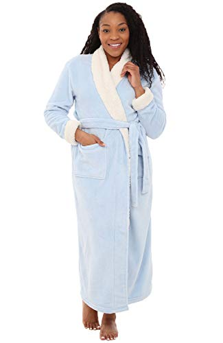 Alexander Del Rossa Womens Fleece Robe, Long Bathrobe, Large XL Light Blue with Sherpa Contrast - Womens Microfleece Bathrobe
