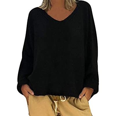 iFOMO Women Casual Loose Solid Color Deep V Neck Knitted Sweater Crop Tops Blouse