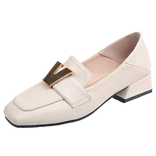 IAMUP Spring Low-Heeled Women Pumps Shoes Peas Single Shoes Square Head Outdoor Fashion Student Shoes Beige]()
