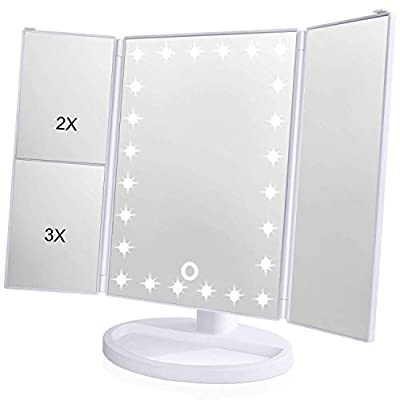 KOOLORBS Makeup 21 Led Vanity Mirror with Lights, 1x 2x 3x Magnification, Touch Screen Switch, 180 Degree Rotation, Dual Power Supply, Portable Trifold Makeup Mirror, White