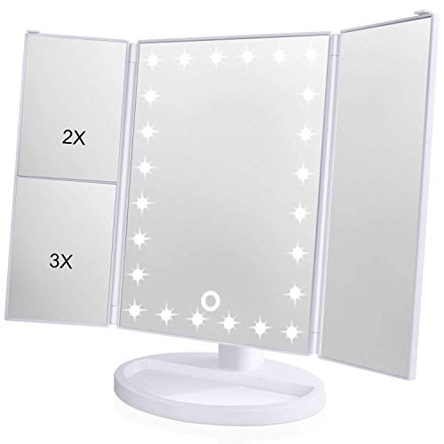 [2018 Upgraded Version] Lighted Makeup Mirror, Wondruz 24 Led Lights Vanity Mirror with Lights and Magnification (2x/3x), Touch Screen, 180° Rotation,Dual Power Supply, Trifold Mirror (White) (Panel Storage Recess)