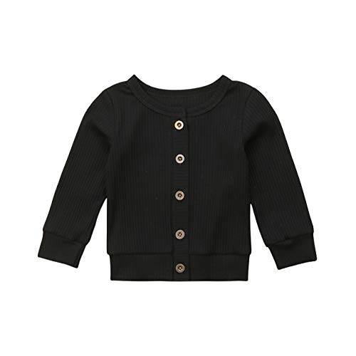 (Newborn Toddler Baby Girls Long Sleeve Button Down Knitted Sweater Cardigan Coat (3-6 Months, Black))