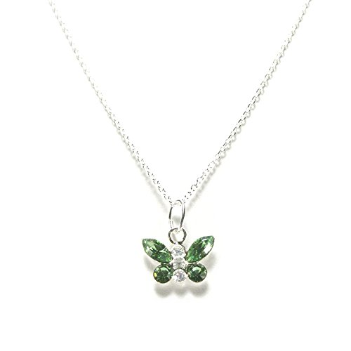 Light Green Butterfly Necklace with Swarovski(R) Crystals Sterling Silver ()