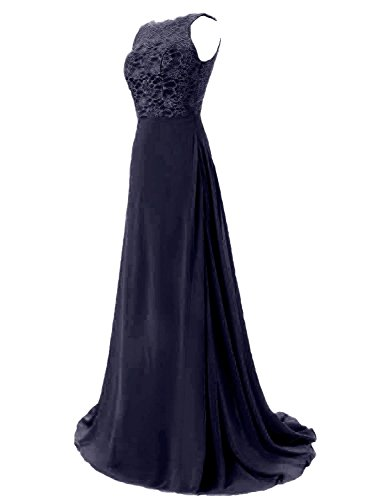 MicBridal - Vestido - trapecio - para mujer azul oscuro