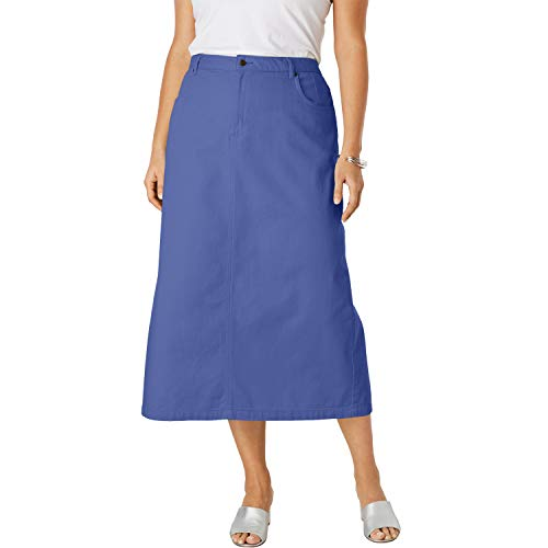 Jessica London Women's Plus Size Classic Cotton Denim Long Skirt - Ultra Blue, 24