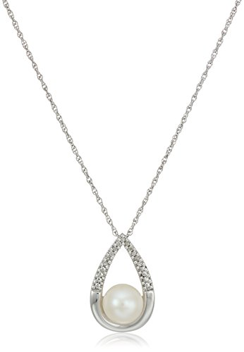 Sterling Silver Fresh Water Pearl and White Diamond Tear Drop Pendant Necklace, 18