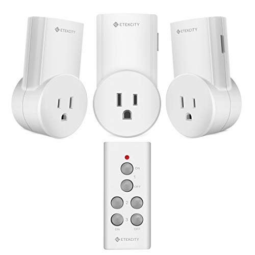 Etekcity Remote Control Outlet Wireless Light Switch for Household Appliances, Plug and Go, Up to 100 ft. Range, FCC ETL Listed, White (Learning Code, 3Rx-1Tx) -
