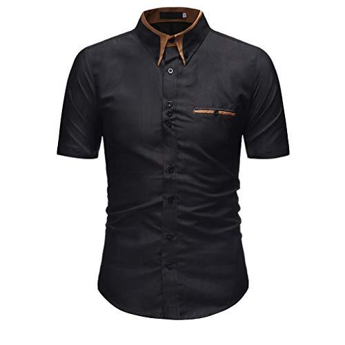 - sweetnice man clothing Men's Casual Slim Fit Business Dress Shirt Button Down Shirts Short Sleeve Business Work Shirt Black