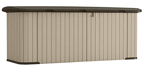 Suncast Multipurpose Storage Shed Store Outdoor Yard Accessories, Trash Cans, Furniture, Toys, and Wood All-Weather Resin, Hinged Lid, Reinforced Floor, MEDIUM, Taupe