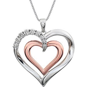 Sterling Silver and Rose Gold Plate Diamond Heart Necklace, 18'' by The Men's Jewelry Store