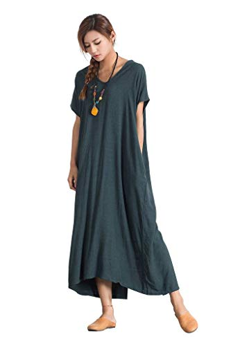 ad1f5a9166e Sellse Women s Linen Loose Summer Long Dress Plus Size Cotton Clothing