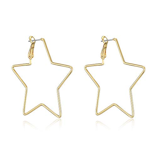 (dnswez 14K Gold Plate Star Hoop Earrings Pentagram Five-pointed Statement Earring for Girl Women)