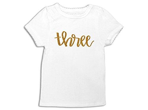 Third Birthday Shirt 3rd Birthday Top Gold Glitter Three Shirt (3 Toddler) (Birthday Wishes For A 3 Year Old Niece)