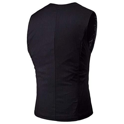 Essentiel Blazer V Gilet Double Business Costume De Pour Homme À Fit Slim Schwarz Gentleman Vest Boutonnage 88qHw6Bx