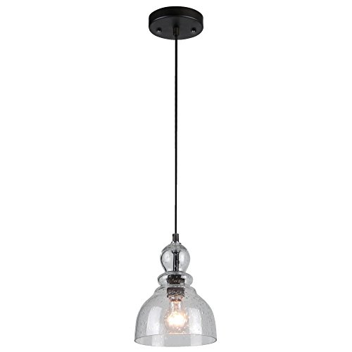 Glass Pendant Light Fixture - Westinghouse Lighting 6100800 Adjustable Indoor Mini-Pendant Light, Oil Rubbed Bronze Finish with Handblown Clear Seeded Glass