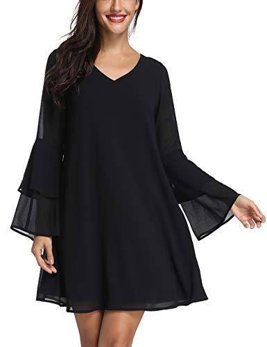 Azalosie Womens Short Sleeve Tunic Dress Summer Chiffon Short Cocktail Casual Evening Dress Black ()