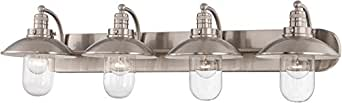 Minka Lavery 5134-84 Downtown Edison 4 Light Bath Vanity Brushed Nickel with Clear Glass