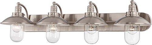 Minka Lavery Farmhouse Wall Light Fixtures 5134-84 Downtown Edison Glass Bath Vanity Lighting, 4 Light, Nickel