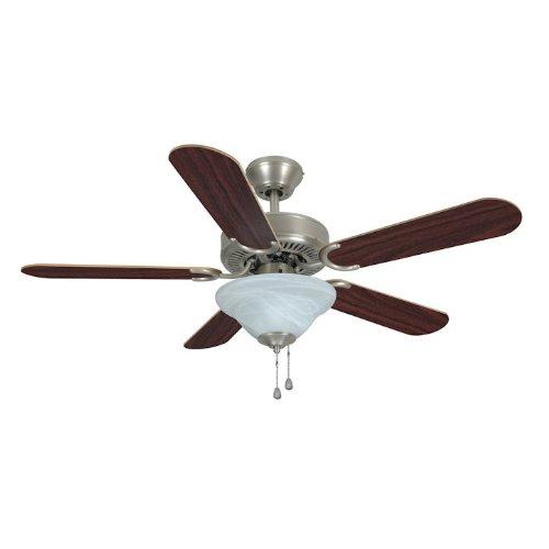 Fan Emerson Silver Ceiling (Hardware House 17-5630 Wyndham Series Satin Nickel 42-Inch Triple Mount Ceiling Fan, Cherry or Light Maple)