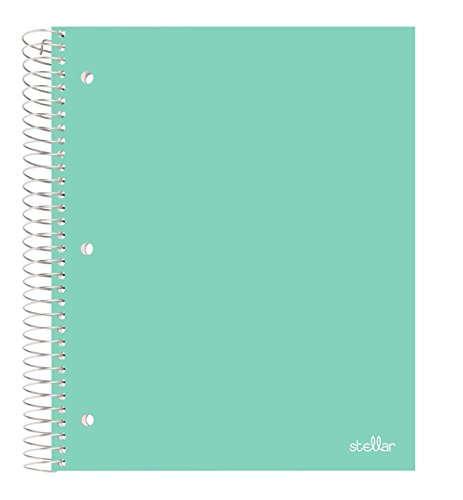 Stellar Spiral Notebooks, Durable Poly Cover, Graph Ruled Paper, 1 Subject, 8-1/2 x 11-Inches, 100 Sheets (Mint) by Office Depot