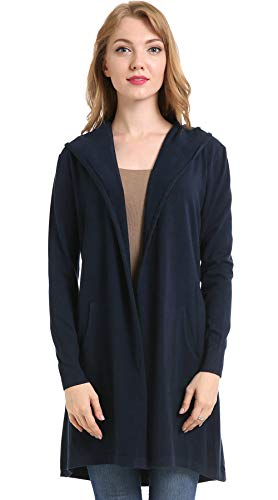 BIMOZI Women Hooded Cardigan Sweater Drape Open Front Asym with Pockets Navy Blue (Open Front Hooded Cardigan)