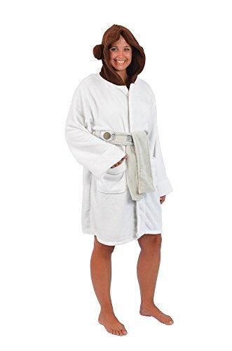 [Robe Factory Women's Star Wars Princess Leia Fleece Bathrobe, White, L/XL] (Princess Leia White Robe)