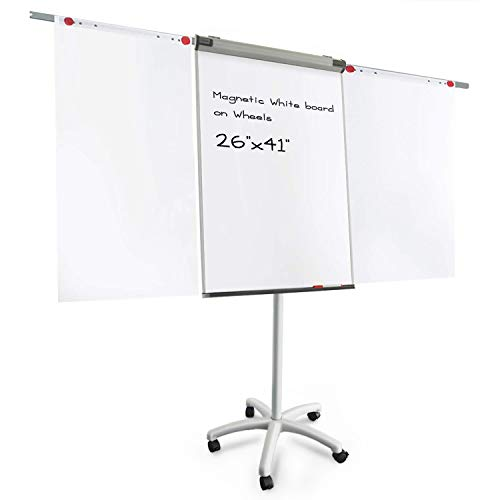Rolling Dry Erase Whiteboard Easels - Master of Boards Flip Chart Easel - Dry Erase Easel Rolling White board on Wheels | Easy Setup | Magnetic | 26