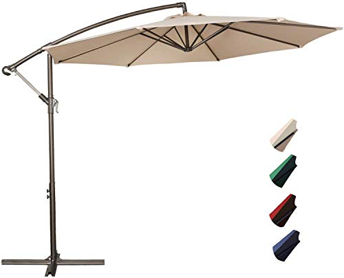 Project One 10ft Patio Offset Cantilever Umbrella Market Umbrellas Outdoor Umbrella with Crank & Cross Base for Garden, Deck,Backyard and Pool (Beige)
